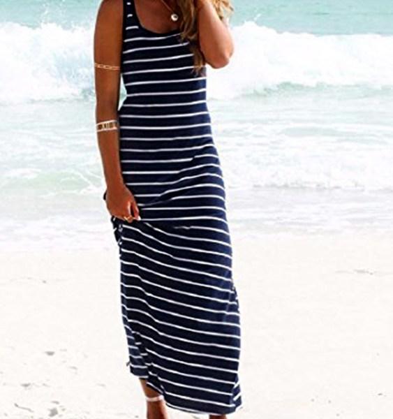 Navy Striped Pattern Scoop Neck Maxi Dress 2