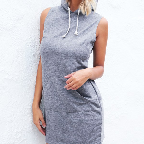 Grey Hoodie Sleeveless Mini Dress 2