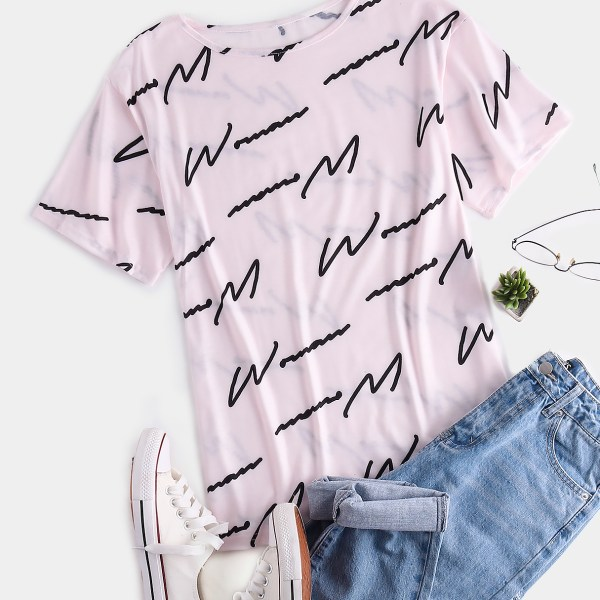 Pink Letter Round Neck Short Sleeves Tee 2
