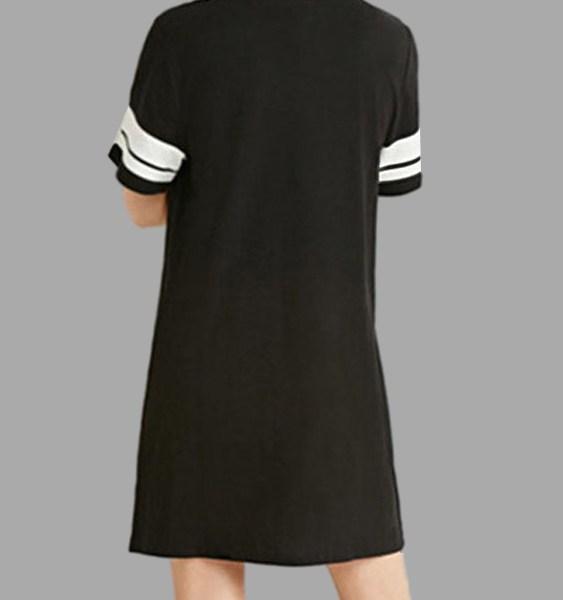 Black Round Neck Short Sleeves Tees Dress 2