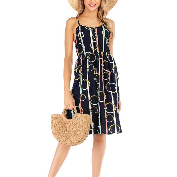 Blue Scarf Print V-neck Sleeveless Midi Dress 2