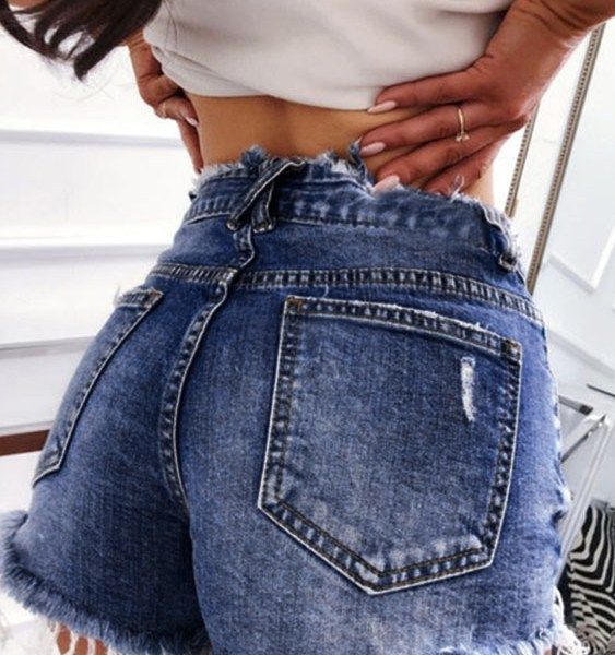 Random Ripped Details Middle-Waisted Denim Shorts 2
