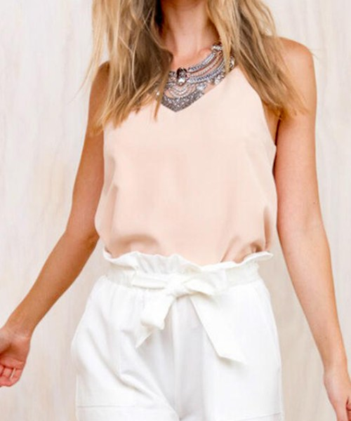 White Pleated Waist A-line Shorts with Waist Tie 2