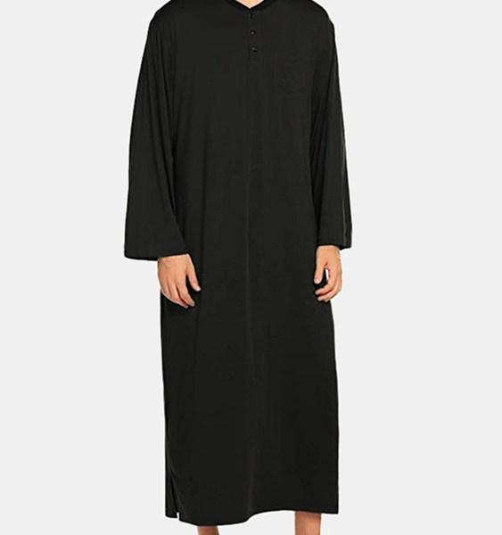 Men Pajamas Nightwear Long Sleeve Nightshirt Kaftan Sleepwear Dressing Gown 1
