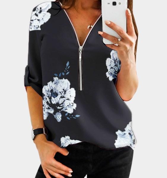 YOINS Black Random Floral Print Zip Design V-neck Adjustable Sleeve Length Blouse 2