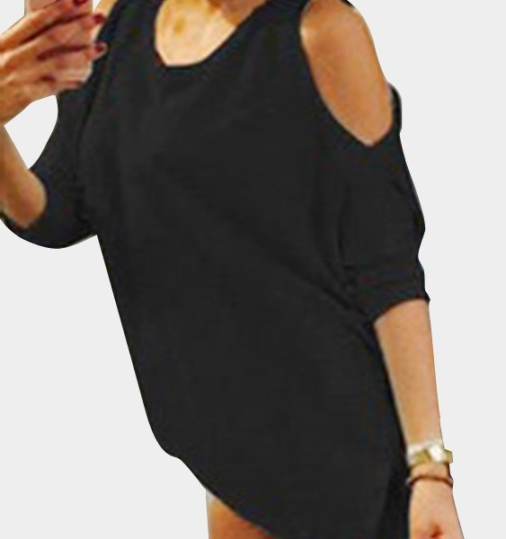 Casual Round Neck Cold Shoulder Long Sleeves T-shirts in Black 2