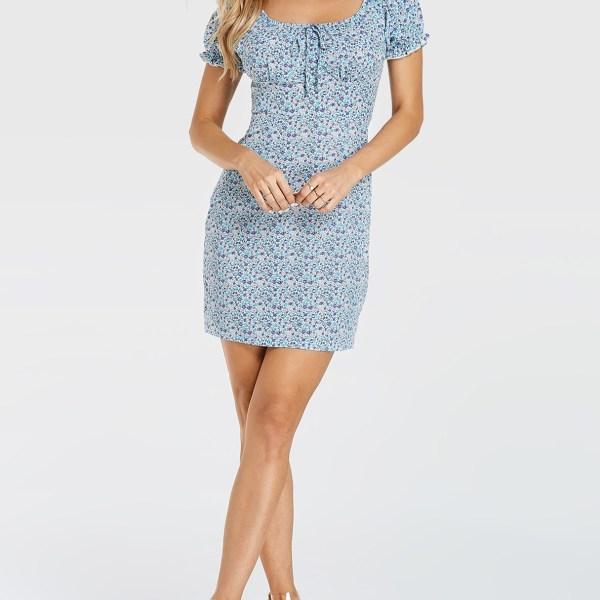 YOINS Blue Random Calico Tie-up Design Short Sleeves Dress 2