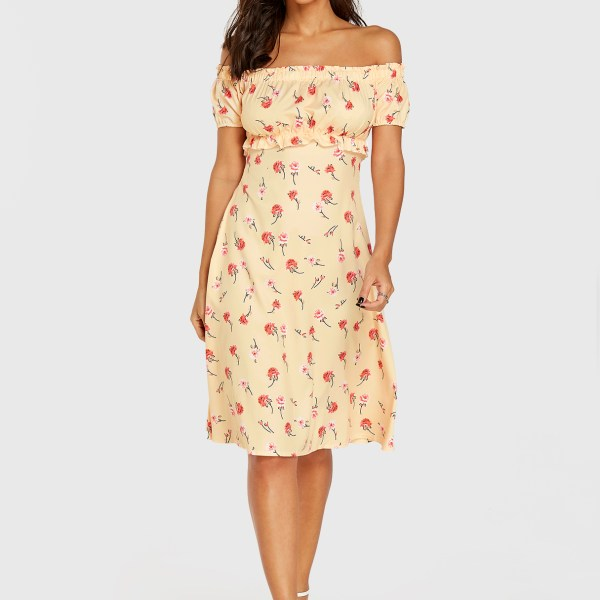 Yellow Floral Print Off The Shoulder Lettuce-edge Dress 2