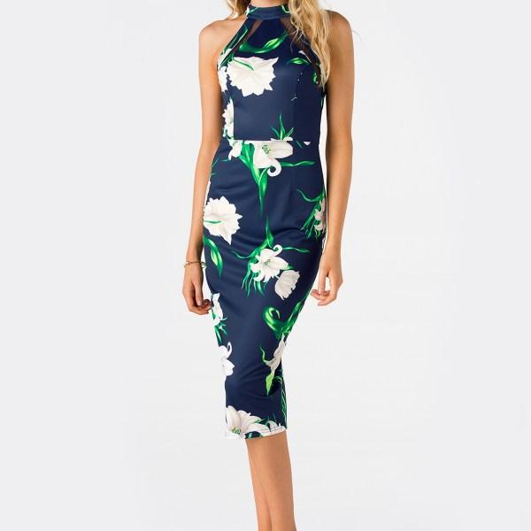 Navy Cut Out Design Random Floral Print Halter Slit Hem Dress 2