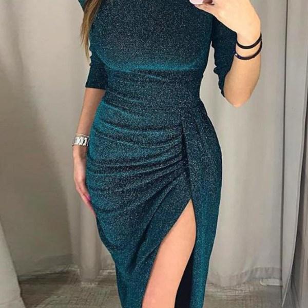 Blue Off The Shoulder Half Sleeves Ruched Glitter Dress 2