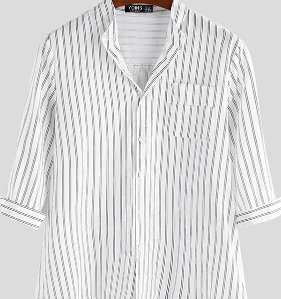 Men Stripe Button Cotton Linen Three Quarter Sleeve Stand Collar Shirt 2