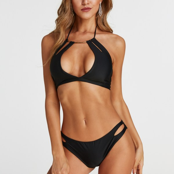 Black Cut Out V-neck Sleeveless Swimwear 2