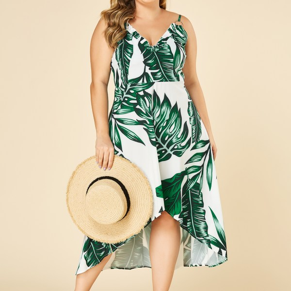 Plus Size Leaf Print Spaghetti Strap V-neck Dress 2