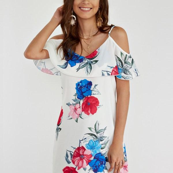 Random Floral Print Cold Shoulder Dress with Flouncy Details 2