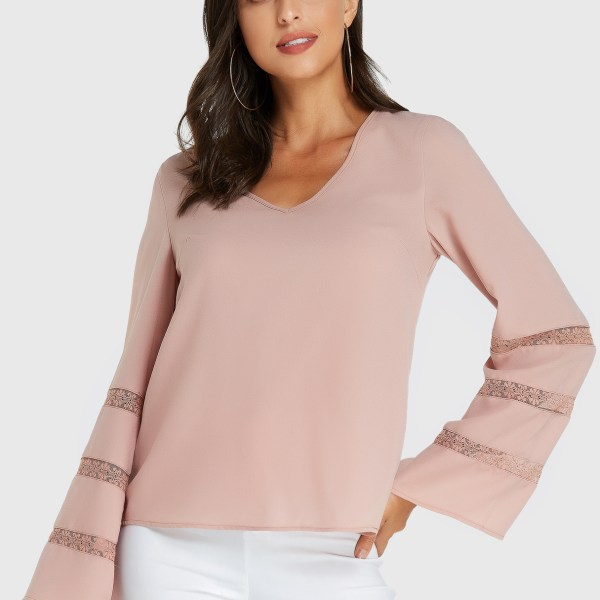 YOINS Pink V-neck Lace Insert Long Sleeves Blouse 2