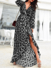 ZANZEA Black Belt Design Leopard Long Sleeves Dress 3