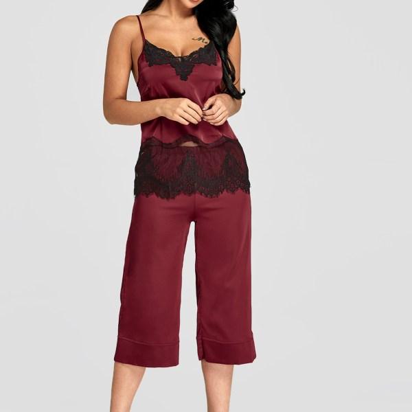 Burgundy Lace Insert Satin Top And Wide Leg Pants Pajama Set 2