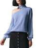 ME Blue One Shoulder Long Sleeves Sweater 3