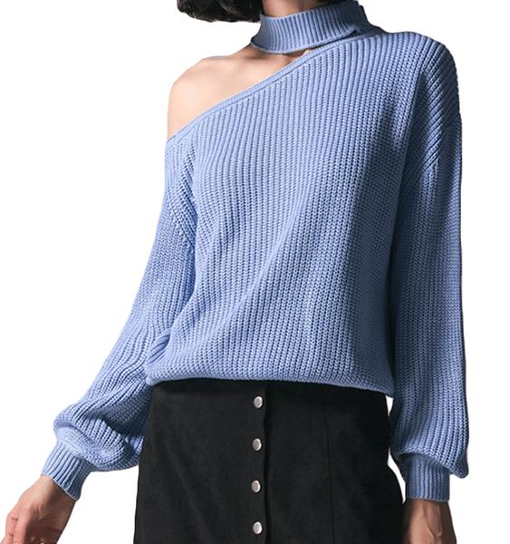 ME Blue One Shoulder Long Sleeves Sweater 2