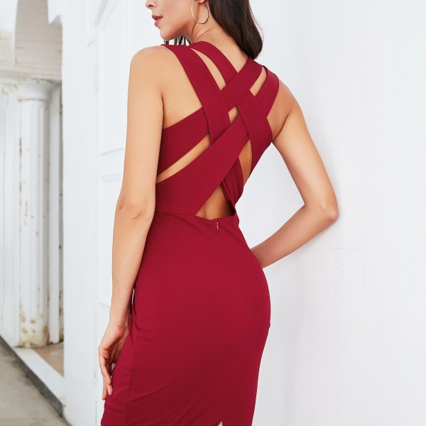 Burgundy V-neck Criss-cross Back Sleeveless Dress 2