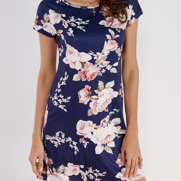 Random Floral Print Short Sleeves Dress in Navy 2