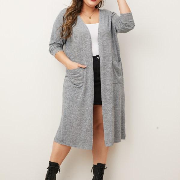 YOINS Plus Size Grey Side Pockets Long Sleeves Cardigan 1