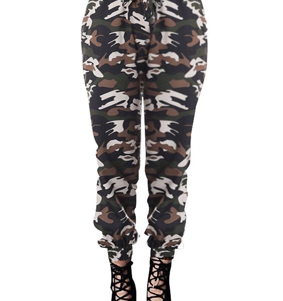 ZANZEA Camouflage Tie-up Design Drawstring Waist Pants 2