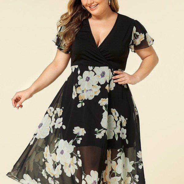 Plus Size Black Random Floral Print Wrap Design Dress 2
