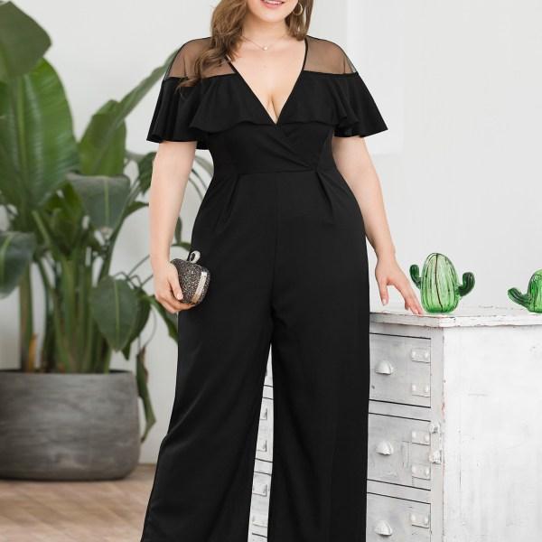 Plus Size Black Cape Design Mesh Patchwork Jumpsuit 2