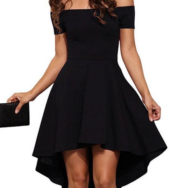 Black Sexy Off Shoulder Irregular Hem Dress 2