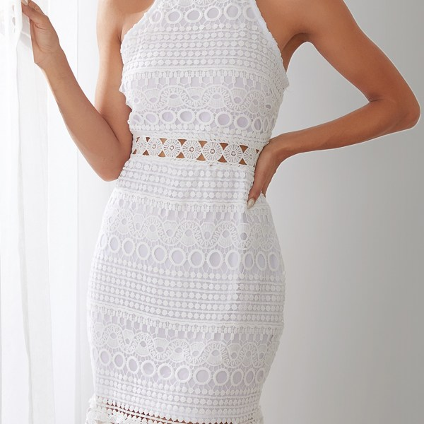 White Lace Cut Out Design High Neck Sleeveless Dress 2