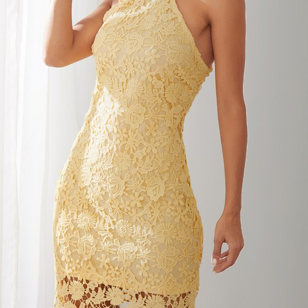 Yellow Halter Lace Mini Dress with Zip Design 2