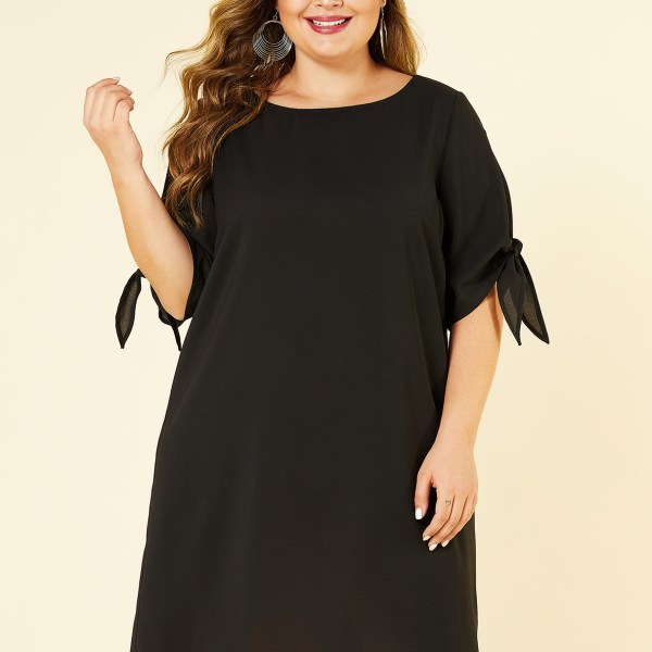 YOINS Plus Size Black Cut Out Round Neck Knotted Dress 2