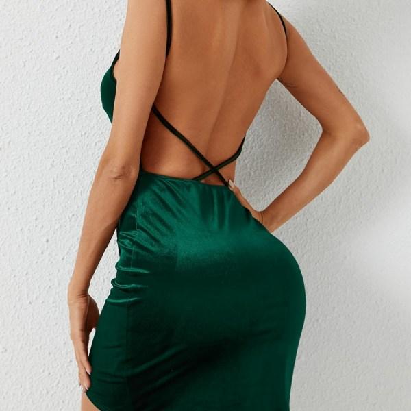Green Backless Design V-neck Sleeveless Dress 2