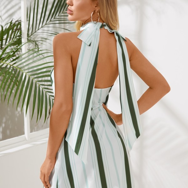 Green Stripe Halter Neck Mini Dress 2