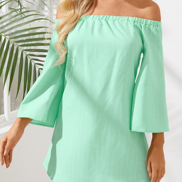 Green Sexy Off Shoulder Lace Up Stripe Pattern Mini dress 2
