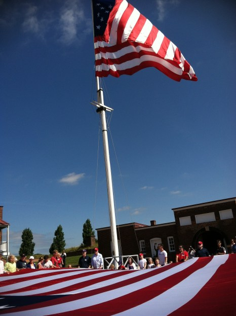 An awesome moment, raising the Star Spangled Banner 200 years after the Battle of Baltimore.