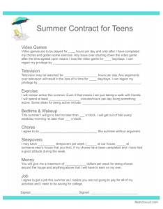 behavior contract teens