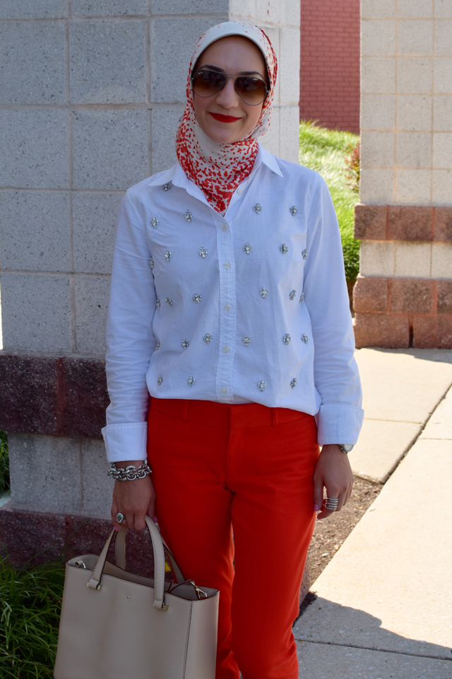 A Day In The Lalz; Fashion; Style; Modesty; Summer Red; Color Pants; J. Crew; Banana Republic; Kate Spade; Haute Hijab