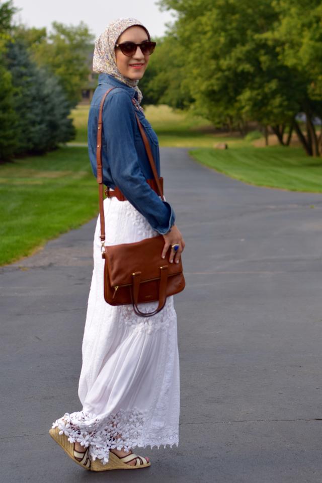A Day In The Lalz; Fashion Blog; Modesty; Style; White Skirt; Denim Shirt; Bauble Bar; Banana Republic; Anthro; Summer Style