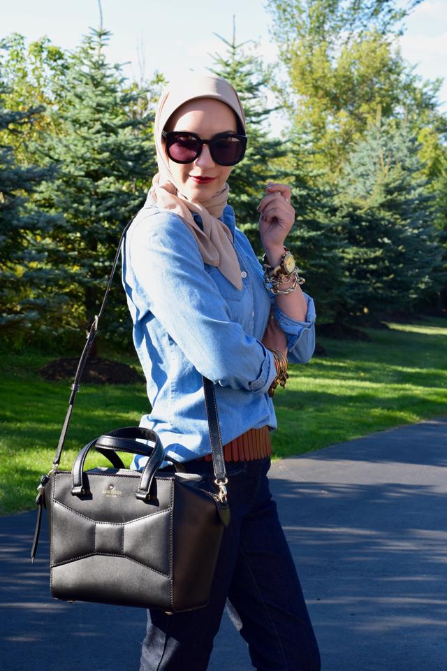 A Day In The Lalz; Flared Jeans; Denim for fall; Fall Style; Chambray; Flare Denim; Karen Walker Sunglasses; DVF Leopard Heels; Kate Spade Beau Bag; Haute Hijab; Fashion Blog; Fall Fashion