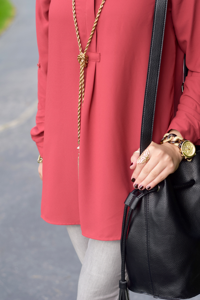 Fashion; Modesty; Fashion Blog;; Fall Trends; Fashion Style; Fashion Trends; Fall Fashion; Rust; Booties; Karen Walker Super Duper; Bucket Bag; Bauble Bar Necklace; NARS Audrey Lipstick; Booties; Grey Denim; MK Watch