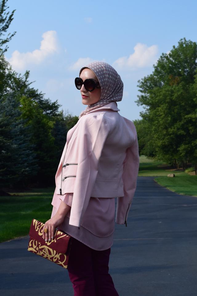 A Day In The Lalz; Banana Republic Sloan Pants; Bana Republic Multi-Zip Moto Jacket; Blush; Fashion; Modesty; Fashion Blog; Fall Beauty; Fall Trends; Fashion Style; Fashion Trends; Fall Fashion; Burgundy & Blush; Hijab; Modesty
