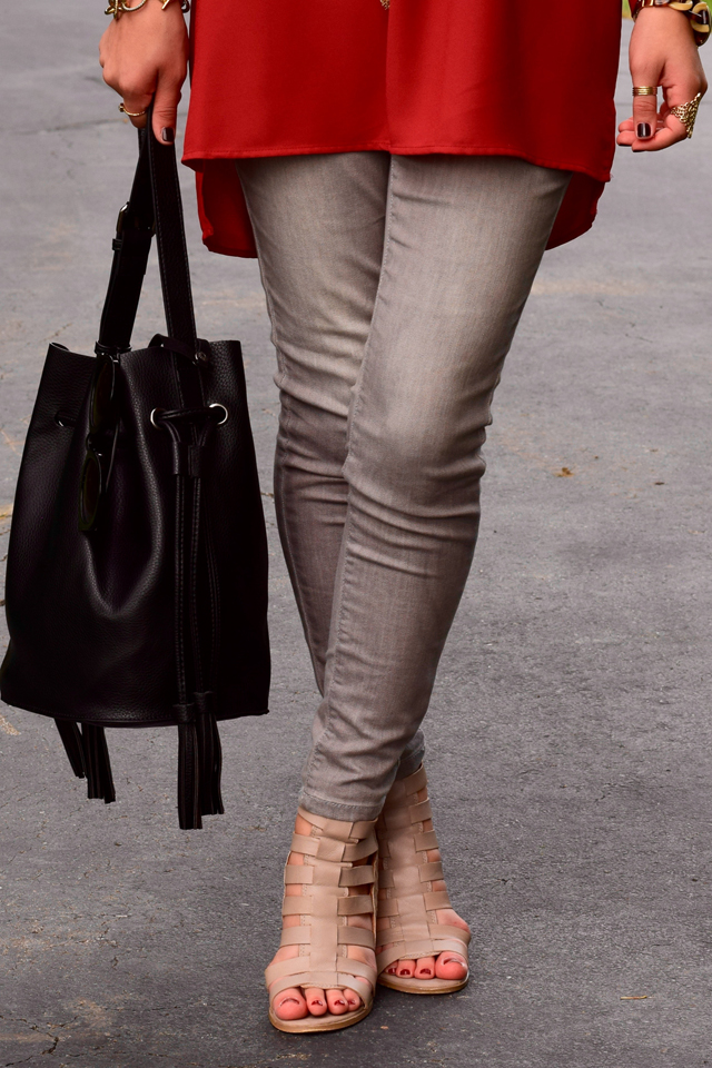 Fashion; Modesty; Fashion Blog;; Fall Trends; Fashion Style; Fashion Trends; Fall Fashion; Rust; Booties; Karen Walker Super Duper; Bucket Bag; Bauble Bar Necklace; NARS Audrey Lipstick; Booties; Grey Denim