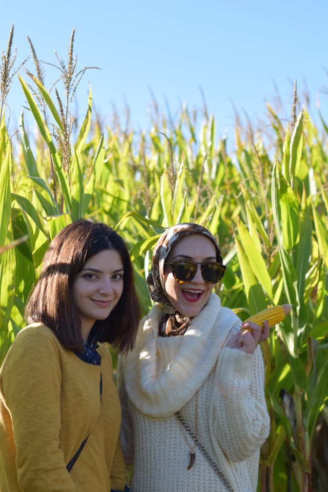 A Day In The Lalz; Butler's Orchard; Fall Fashion; Pumpkin Patch; Style; Fashion Blog; Modesty; Cowl Neck Sweater; Karen Walker Sunnies; Rebecca Minkoff; Stila Beso