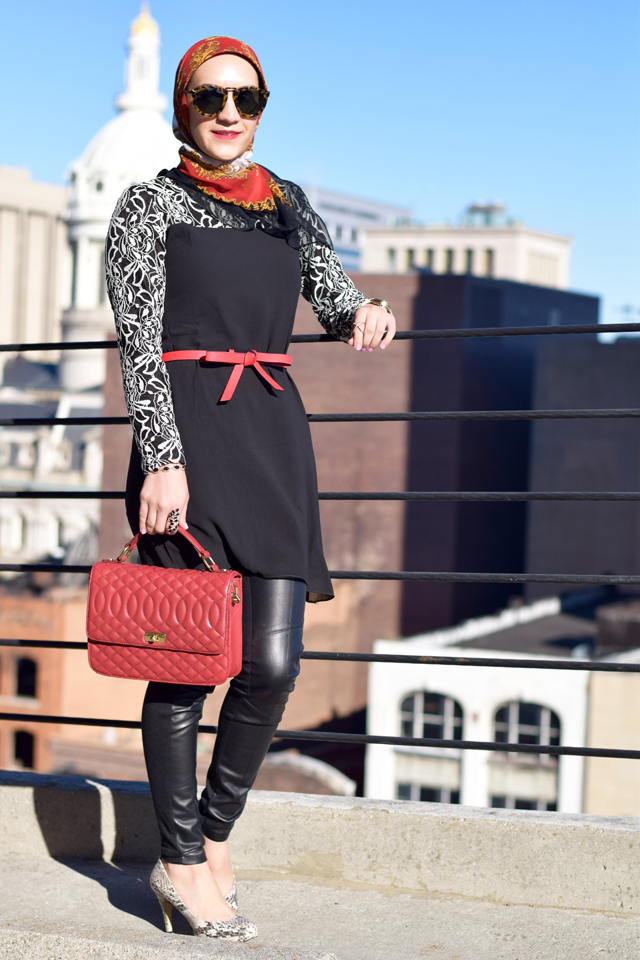 A Day In The Lalz; Lace Sleeve Tunic; Modest Lily; Fall Style; Black and Red; Karen Walker Sunglasses; Leather leggings; Hijab; Modest Fashion; Hijabi Fashion Blogger;