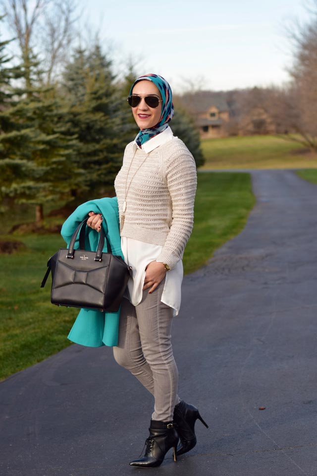 A Day In The Lalz; Winter Look; J. Crew DOUBLE-CLOTH LADY DAY COAT WITH THINSULATE; Color Coat; Layers; Anthropologie Sweater; Kate Spade Beau Bag; Hijab Fashion; Modest Style; Kendra Scott Necklace; Black Booties; Fashion Blogger;