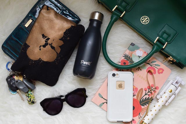 A Day In The Lalz; What's in my Bag?, Tory Burch Robinson Tote; Karen Walker Number One Sunglasses; BaubleBar Selfie Stick; Kate Spade Wallett; Lifeproof iphone case;