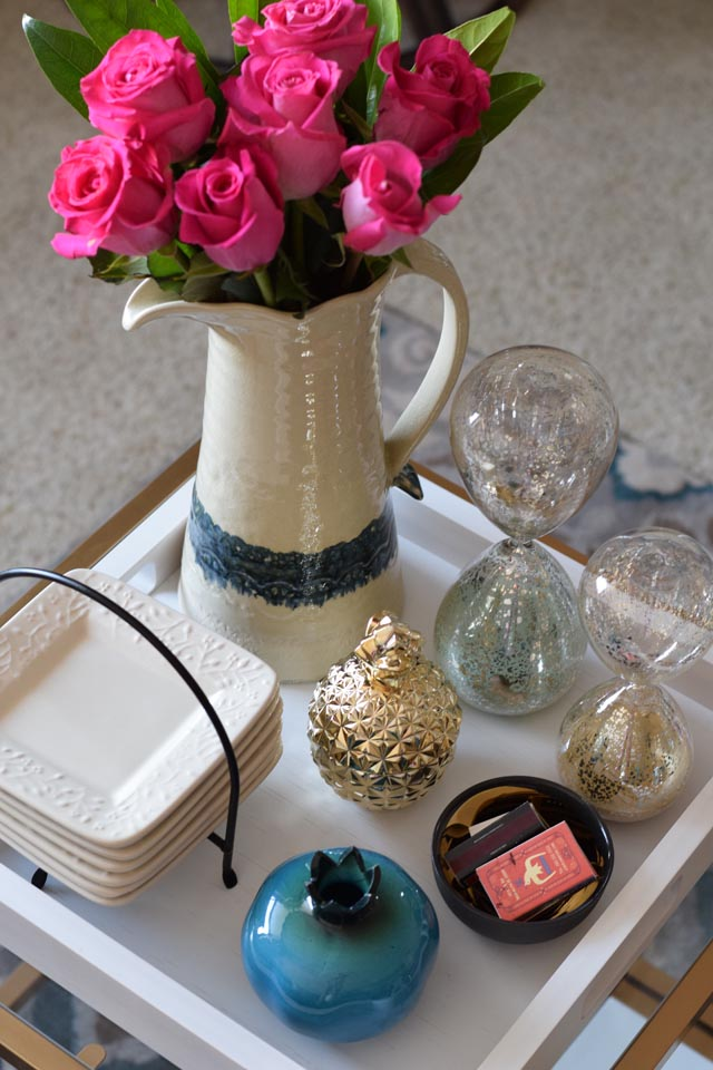 A Day In The Lalz; Home Decor; Styling A Coffee Table Tray; Gold Glass Pineapple Jar; Hourglass Decor; Crate & Barrel Zuma Tray; Apartmnet Decoration; Coffee Table Stuling; White Tray