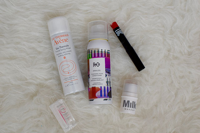 September Birchbox-LOC Ultra-Gloss Lip Pencil in Cherry Bomb-Bioderma Sensibio H2O-Milk Makeup Highlighter-R+Co Analog Cleansing Foam Conditioner-Avene Thermal Spring Water